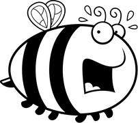 Scared Cartoon Bee - stock illustration