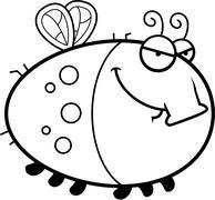 Sly Cartoon Fly - stock illustration