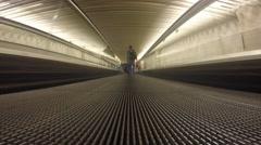 Moving sidewalk inside corridor - stock footage