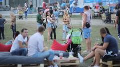 Many people on the street food festival Stock Footage
