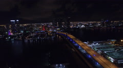 Aerial Port Miami and Downtown Stock Footage