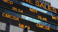 Stock Video Footage of Stock market ticker digital display board Times Square New York City NYC