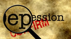 Magnifying glass on depression concept - stock footage