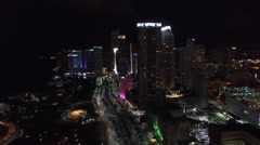 Aerial video Downtown Miami night 5 Stock Footage