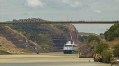 Cruise Ship Passing Under Panama Canal Centennial Bridge Close-up Shot Stock Footage