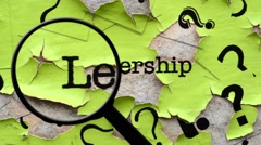 Stock Video Footage of Magnifying glass on leadership text