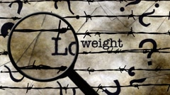 Magnifying glass on lose weight concept Stock Footage
