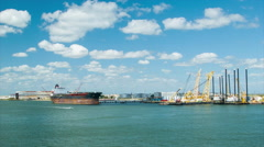Oil Tanker Container Cargo Ship Wide Shot in the Port of Galveston TX Stock Footage