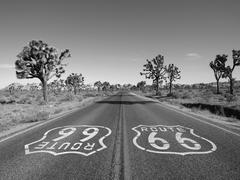 Route 66 with Joshua Trees in Black and White Stock Photos