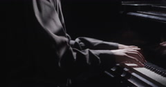 Piano music pianist hands playing. Musical instrument grand piano details 4K - stock footage