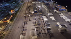 Aerial Port Miami at night 5 Stock Footage