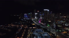 Aerial video Downtown Miami night 4 Stock Footage