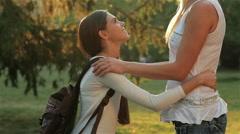 Mother edifies teenage daughter Stock Footage