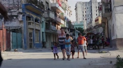 LA HABANA, CUBA, CIRCA 2015: People walking in Habana Vieja district, Cuba Stock Footage