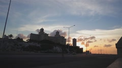 General view of the Hotel Nacional and Malecon in La Havana during sunset Stock Footage