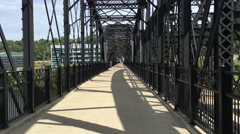 Hot Metal Street Bridge Sidewalk Perspective Stock Footage