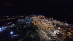 Aerial Port Miami at night 4 Stock Footage