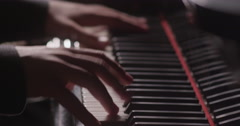 Stock Video Footage of Piano music pianist hands playing. Musical instrument grand piano details 4K