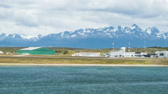 Ushuaia Argentina Panning Over the Local Airport and Countryside Stock Footage