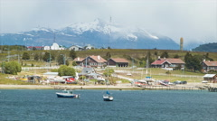 Ushuaia Argentina Residential Countryside Against the Beagle Channel Stock Footage
