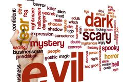 Evil word cloud concept - stock illustration