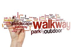 Walkway word cloud concept - stock illustration