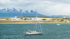 Yacht Sailboat Sailing and Arriving in Ushuaia Argentina Stock Footage