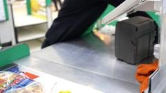 Cashier at Cash-desk in Supermarket Stock Footage