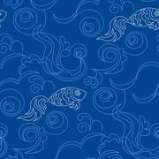 Blue wallpaper pattern - stock illustration