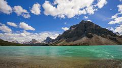 Bow Lake and Crowfoot Mountain, in Banff National Park - stock photo