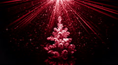 Christmas tree in red light beams loopable animation 4k (4096x2304) Stock Footage