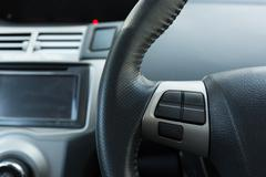 Blank control button on car steering wheel used for placed icon design Stock Photos