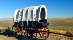 Pioneer Covered Wagon Along The Oregon Trail Stock Photos