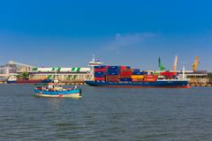 Klaipeda seaport - stock photo