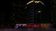 Skytrain In Night City Stock Footage
