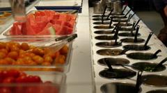 People choose hot pot Seasoning at restaurant - stock footage