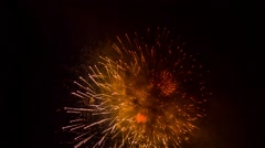 Brightly Colorful Fireworks Shining In The Night Sky Stock Footage