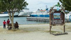 Stock Video Footage of Ushuaia Fin del Mundo Tourism Signage in the Argentinian Port