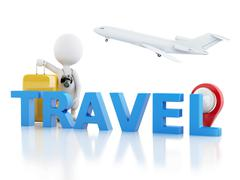 3d man tourist with travel suitcases and camera - stock illustration