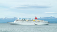 Unmarked Cruise Ship Anchored in the Ushuaia Harbor of Argentina - stock footage