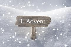 Sign Snow Snowflakes 1 Advent Means Christmas Time - stock photo