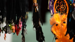 Dream catchers hanging in a display at outdoors Stock Footage