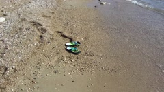 Flip-flops on the beach with sea surf Stock Footage