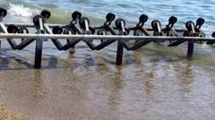 Boat slipway on the beach Stock Footage