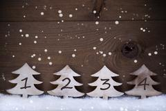 Christmas Tree, Snow, Copy Space, Four Number, Advent, Snowflake - stock photo