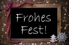 Chalkboard Decoration Frohes Fest Means Christmas, Snowflakes - stock photo
