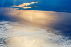 White clouds in the sky aerial view sea - stock photo