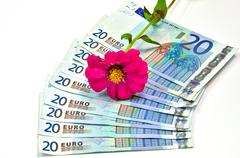 Nine twenty euro banknotes on white backround - stock photo