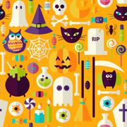 Flat Orange Halloween Trick or Treat Objects Seamless Pattern - stock illustration