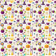 Flat Halloween Trick or Treat Objects Seamless Pattern - stock illustration